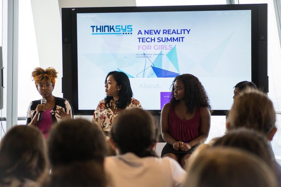 Project Z Co-Founder, Jazmin Tanner speaking at A New Reality Tech Summit for Girls at SAP Next-Gen.