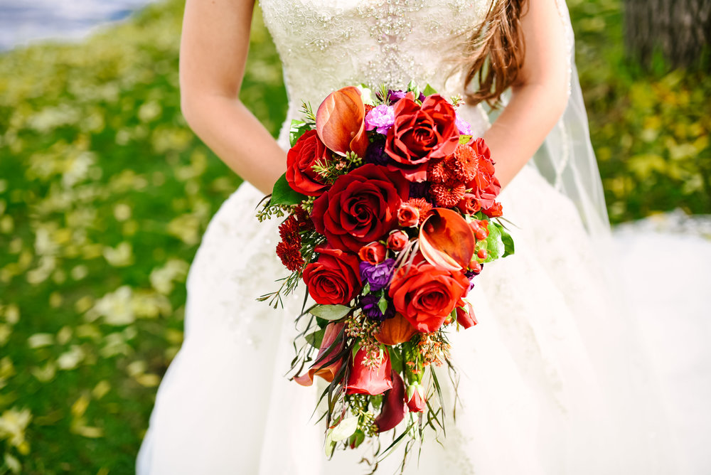 Cascading bridal bouquet, red and orange