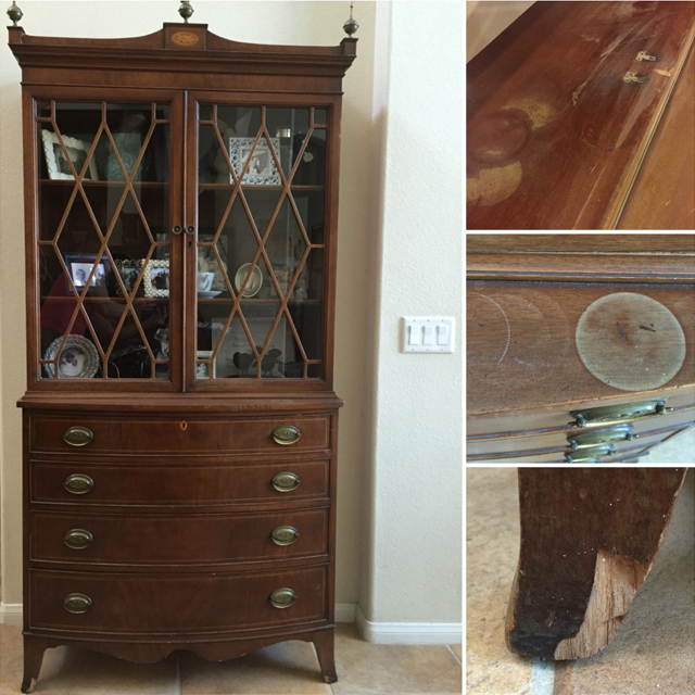 antique hutch makeover, affordable do it yourself home projects, before and after furniture makeover