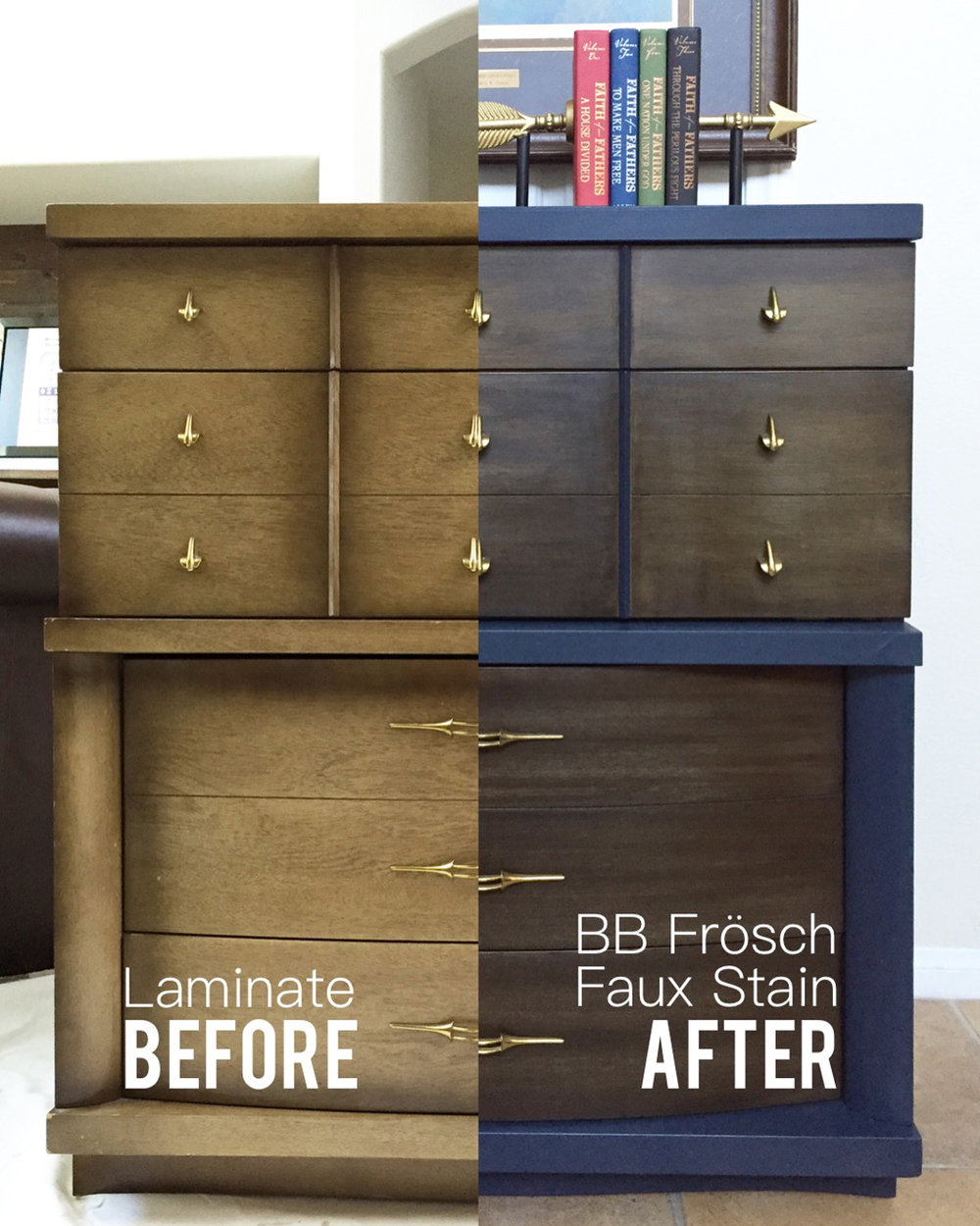 easy DIY, BB Frosch, chalk paint project, midcentury dresser makeover, midcentury furniture makeover, easy DIY project, weekend project, at home furniture makeover