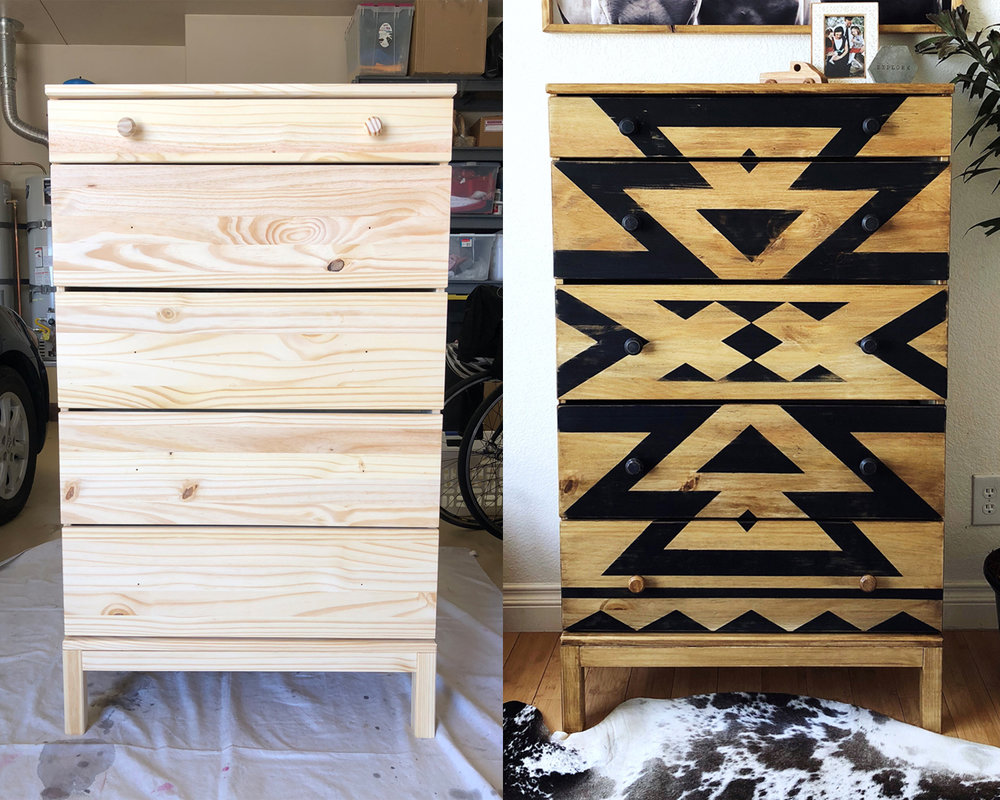 IKEA dresser makeover, dresser makeover, do it yourself dresser makeover, furniture makeover, DIY chalk paint IKEA dresser, affordable DIY home projects, chalk paint DIY, how to chalk paint, how to paint an IKEA dresser, chalk paint a dresser tutorial, furniture transformation, dresser transformation, IKEA dresser transformation, how to stencil a dresser with chalk paint, chalk painting techniques, aztec home decor, painting with chalk paint, BB Frosch