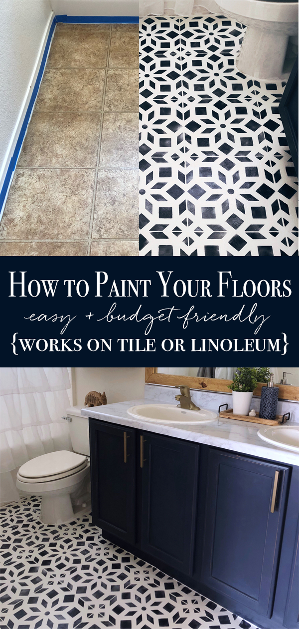 how to paint linoleum, how to paint tile, painted bathroom floor, diy painted floor, bathroom makeover, tile stencil, affordable diy home project, bathroom makeover, bathroom inspiration, chalk painted floor, how to chalk paint a floor