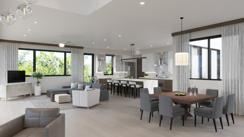 MAIN LEVEL: Dining - Family Room - Kitchen
