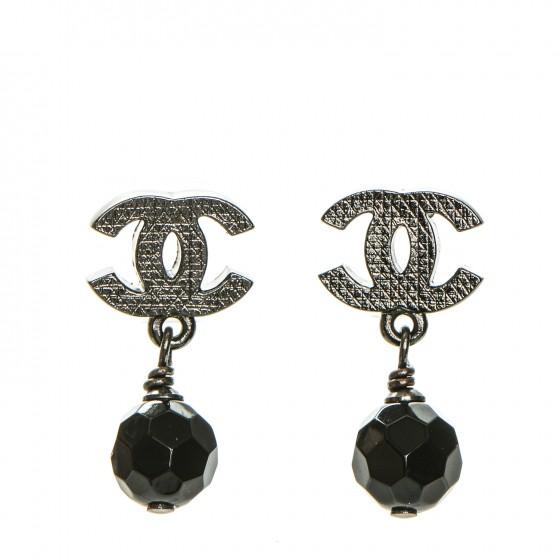 Statement Earrings - Chanel Ruthenium Bead Earrings