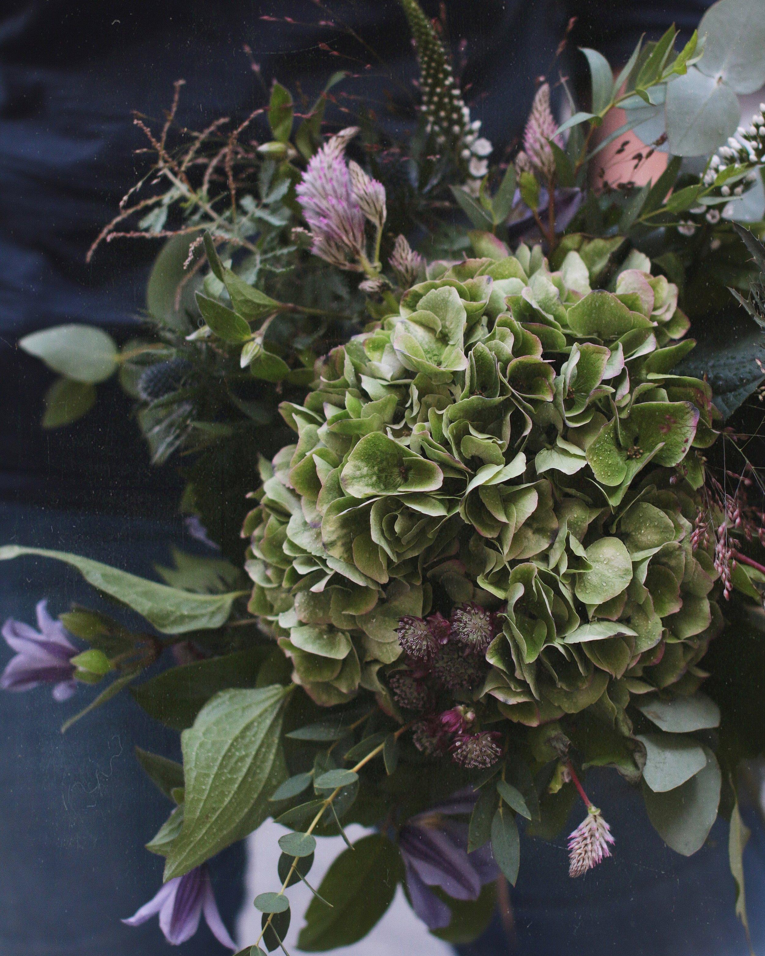 Syksyinen matala kimppu, hortensia, tähtiputki ja jalokärhö. Hydrangea, astrantia and different autumn greens