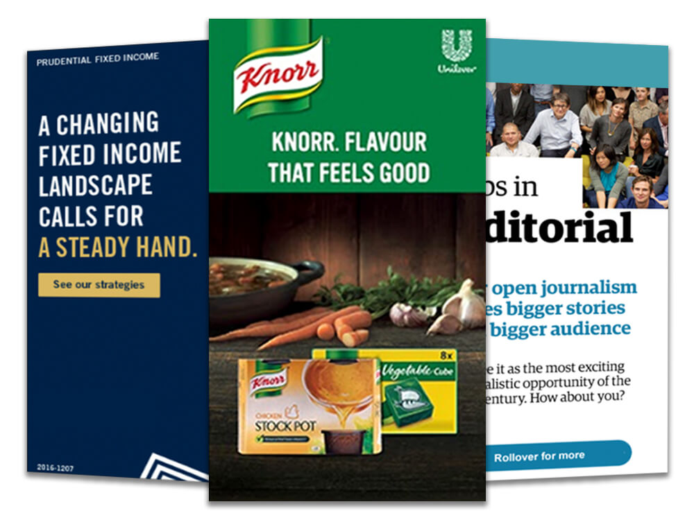 digital production - Static and animated bannersMulti-shape digital adsEmailers and landing pagesDigital publishing - epub, iBookUI/UX design and wireframesInfographics and presentations