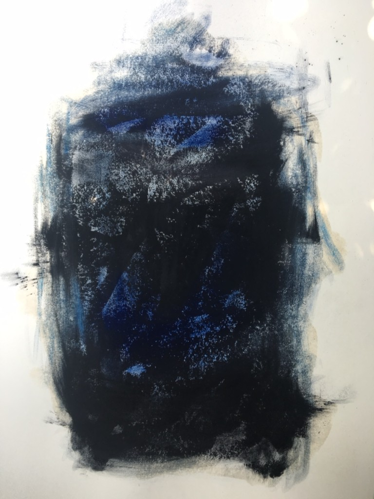 Nigel Rolfe , Dark Pool, Prussian blue and ivory black pigment and lard on Fabriano paper , 2018