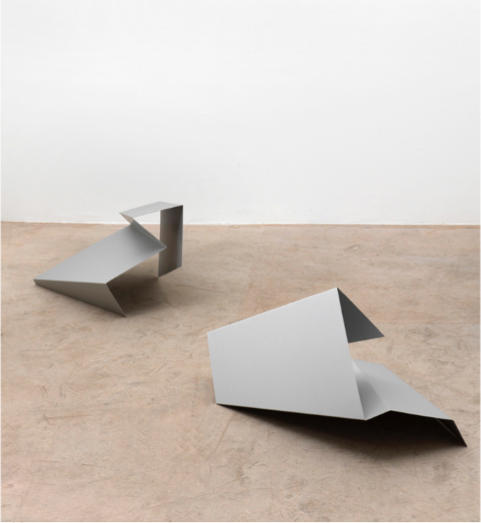Kirstin Arndt ,  o.T.,  (flyer/rectangle), 2006, Anodized aluminium, 68 x 42 x 35cms and 65 x 50 x 45cms