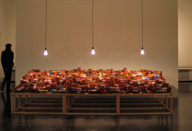 Promise, 2003   Dinner Packaging, Plant Pots, Wire, Wood, Lighting; Dims.: 366 x 183 x 122cms