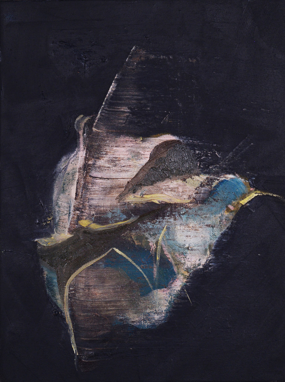 Flight, 2013, Oil on reversed black primed canvas, 40 x 30 cm