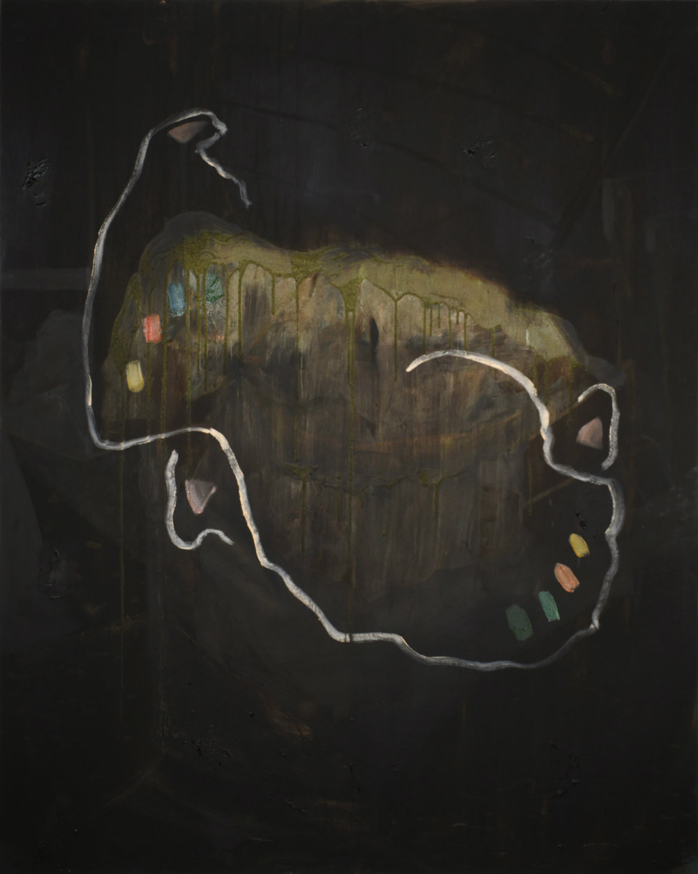 Interior Sun, 2013, Oil on reversed black primed canvas, 150 x 125 cm