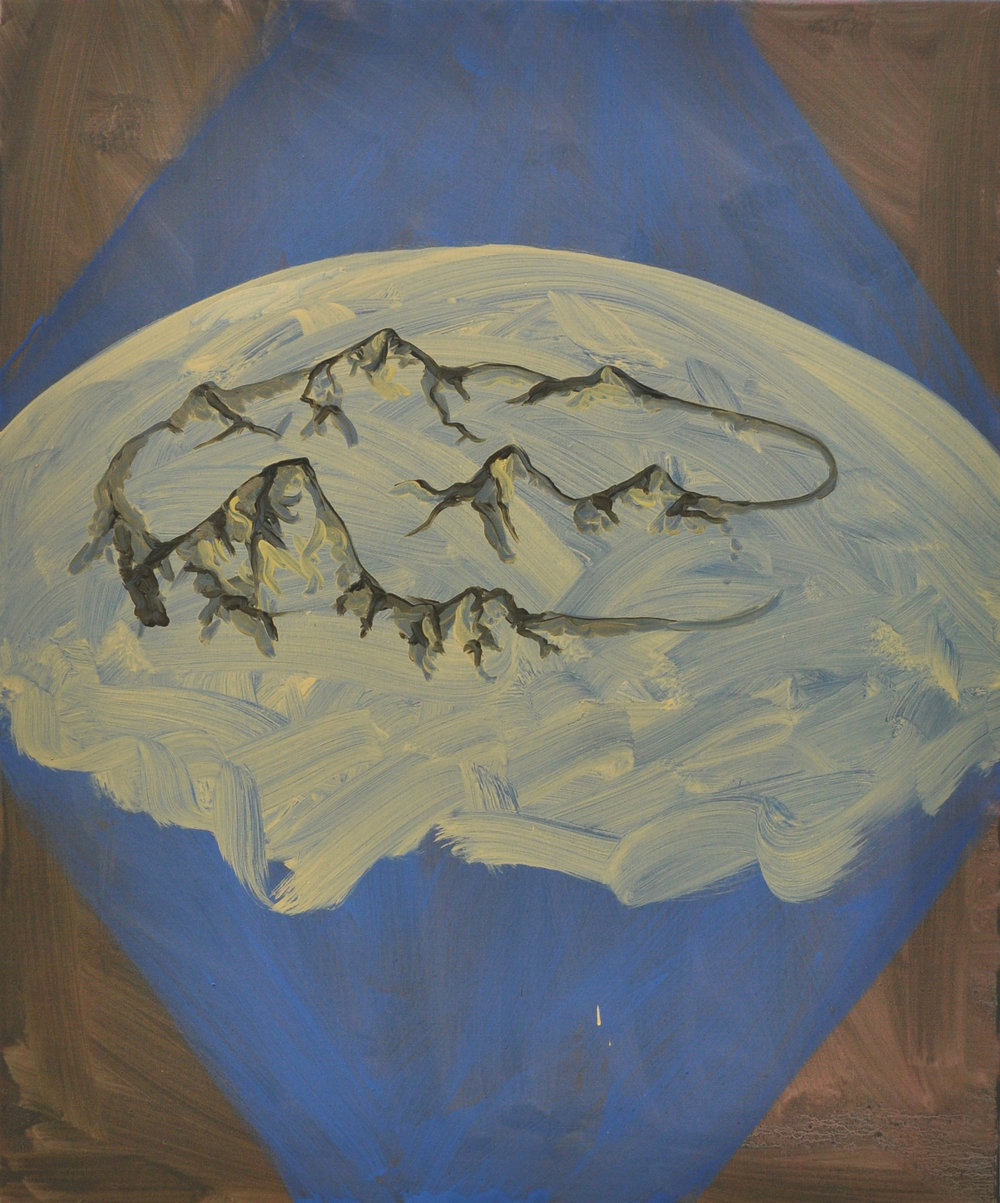 Cyclical Mountains, 2011, Oil on cotton, 60 x 50 cm
