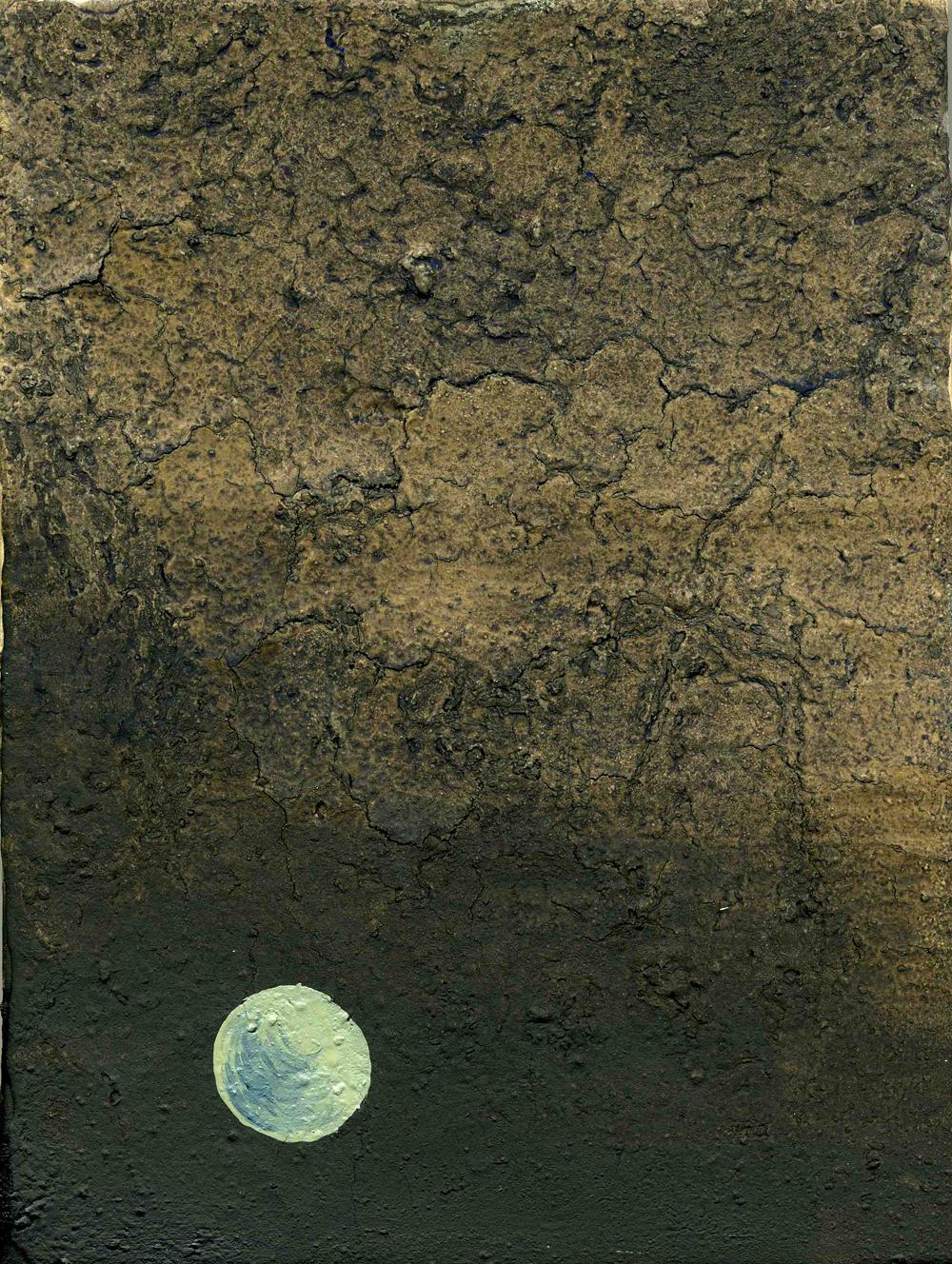 Moon, 2009, Oil on half oil ground, 24 x 18 cm