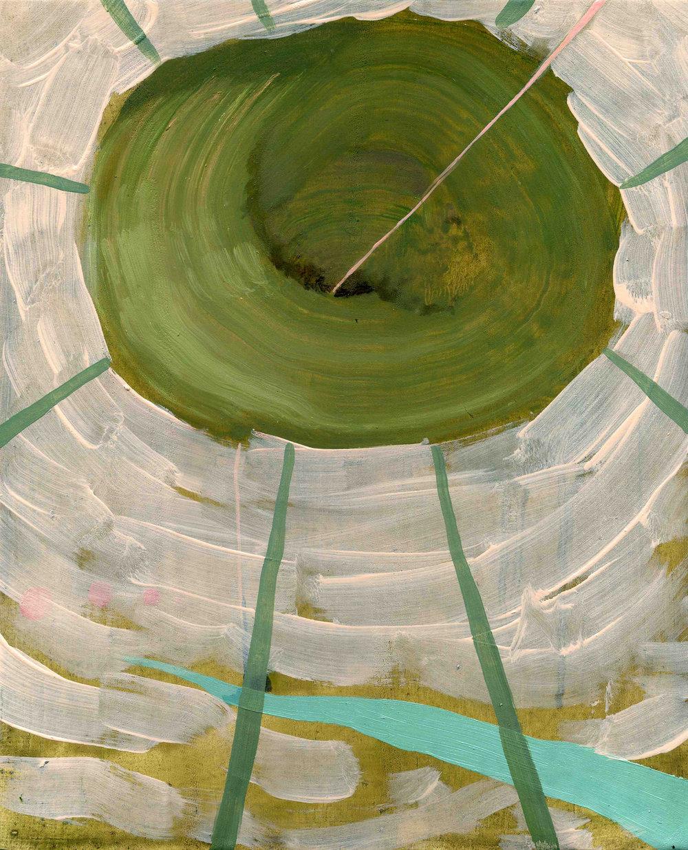 Green Vortex, 2009, Oil on half oil ground, 35 x 25 cm