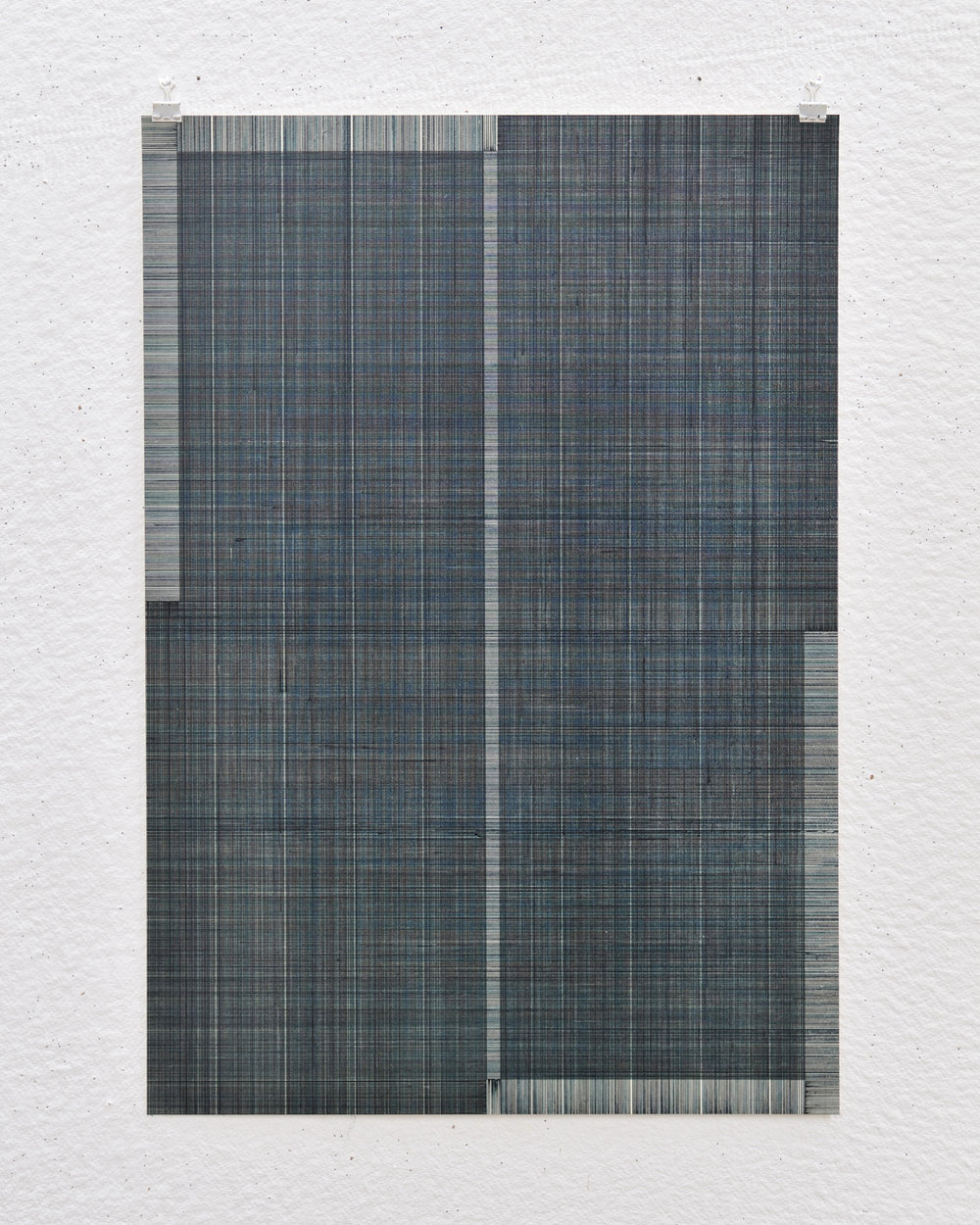 'Drawing (blue/grey) A02', acrylic and ink on paper, 72 x 50 cm