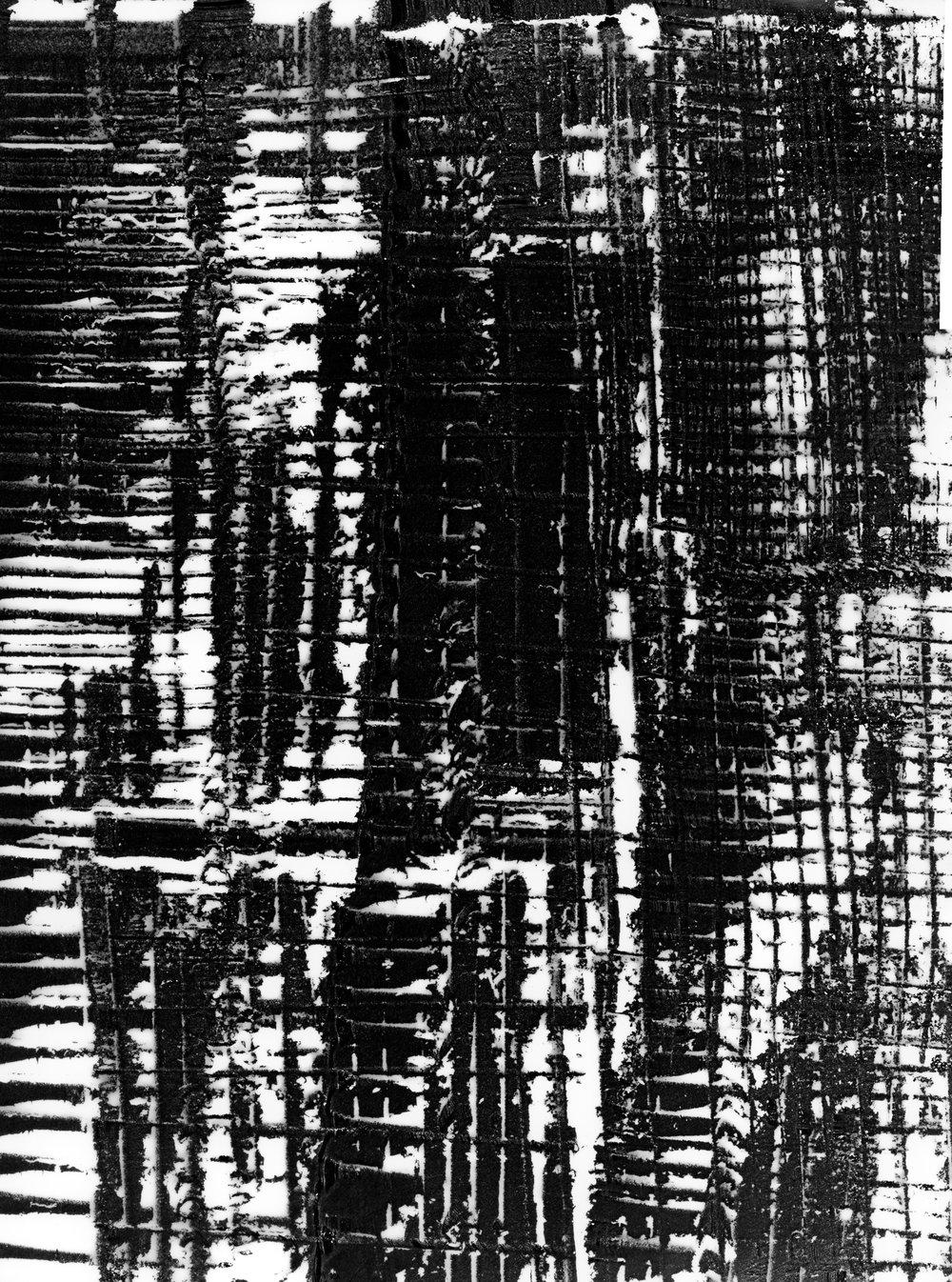 Grid #1 (2018).  Unique photogram, selenium-toned, gelatin silver print, 51cm x 41cm.