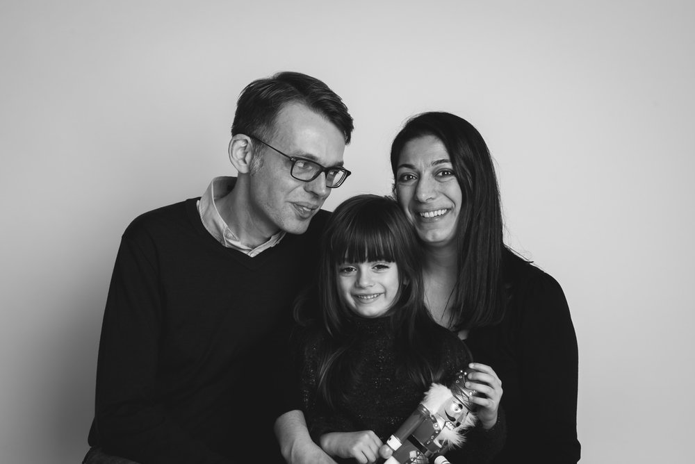 Andisheh Thomson with her husband and daughter