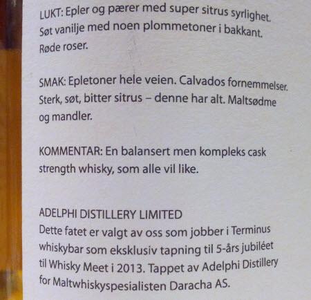 Clynelish 1997 Adelphi Selection Whisky-Meet 2013 - etikett bak
