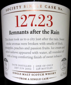SMWS 127.23: Remnants after the Rain
