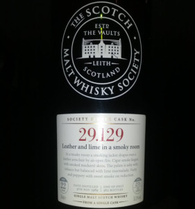 SMWS 29.129 Leather and lime in a smoky room