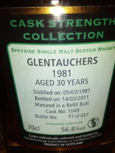 Glentauchers 1981 30 YO Signatory Cask Strength