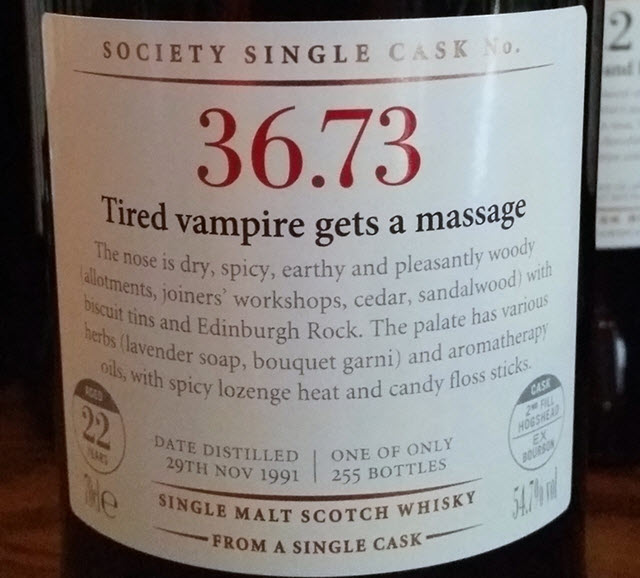 SMWS 36.73 Tired vampire gets a massage