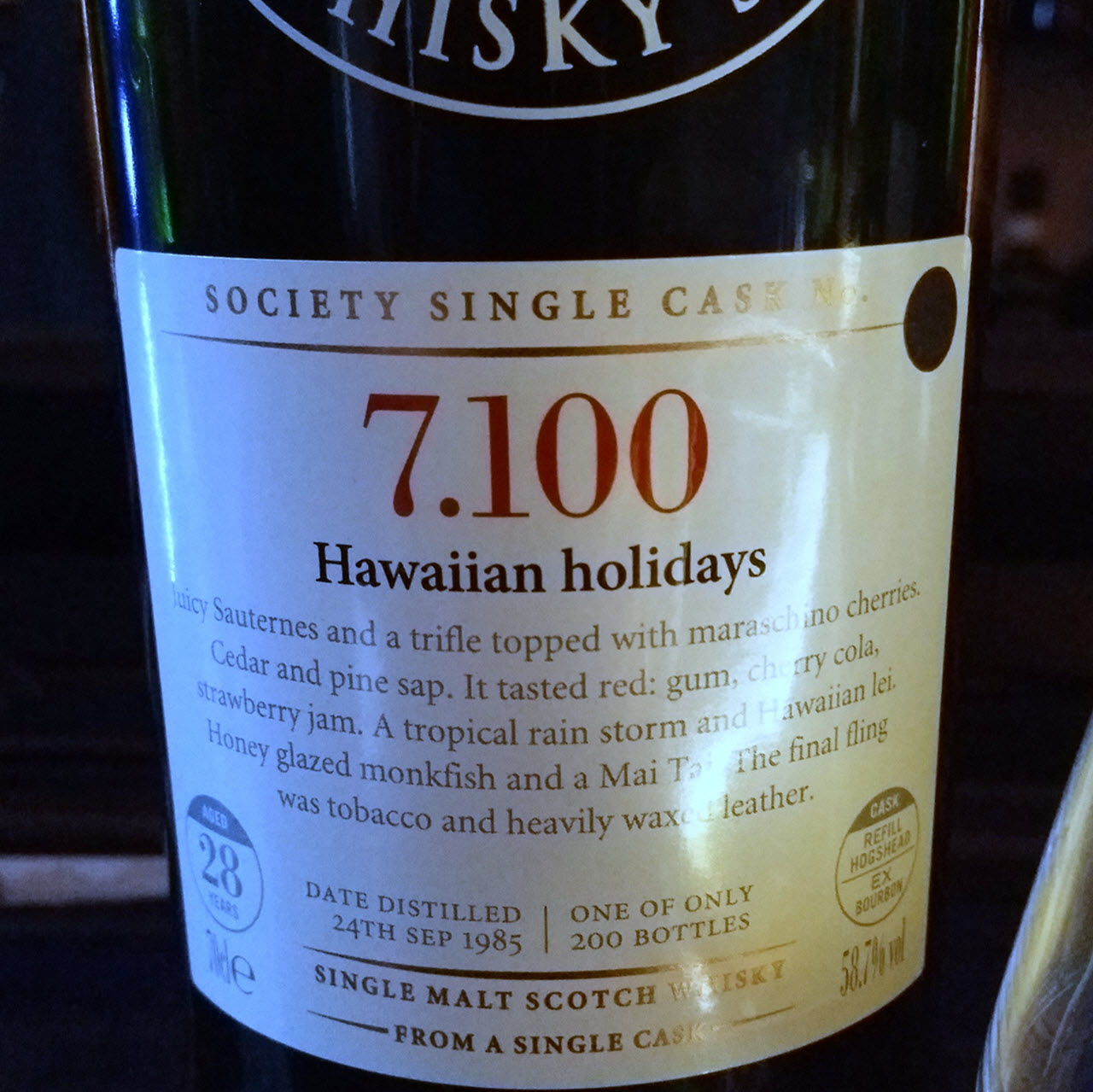 SMWS 7.100 Hawaiian holidays