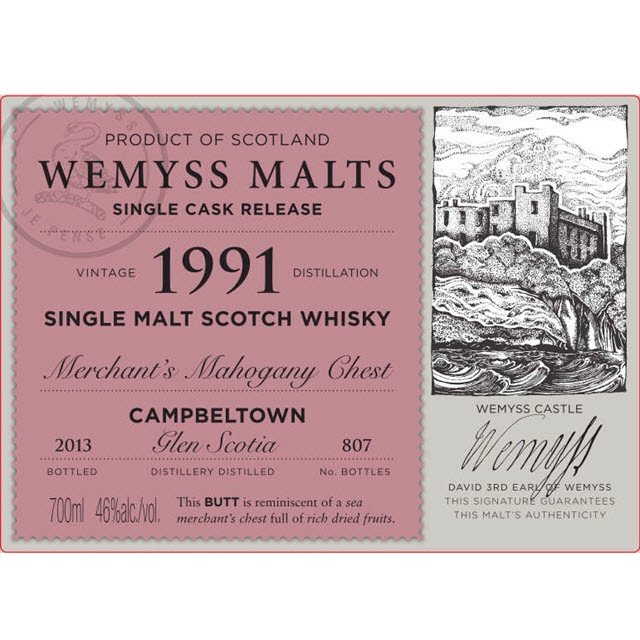 Merchant's Mahogany Chest 1991 Glen Scotia (Wemyss Malts)