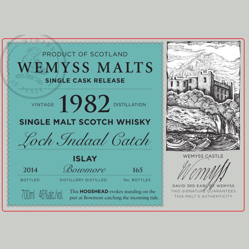 Loch Indaal Catch 1982 Bowmore (Wemyss Malts) - label