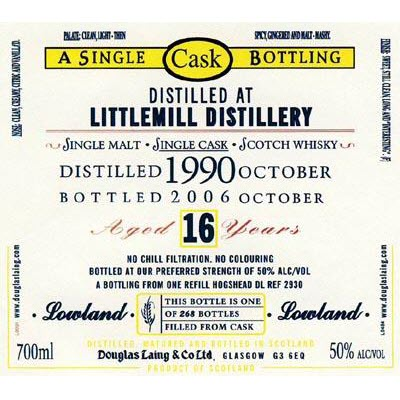 Littlemill 1990 16 YO Old Malt Cask