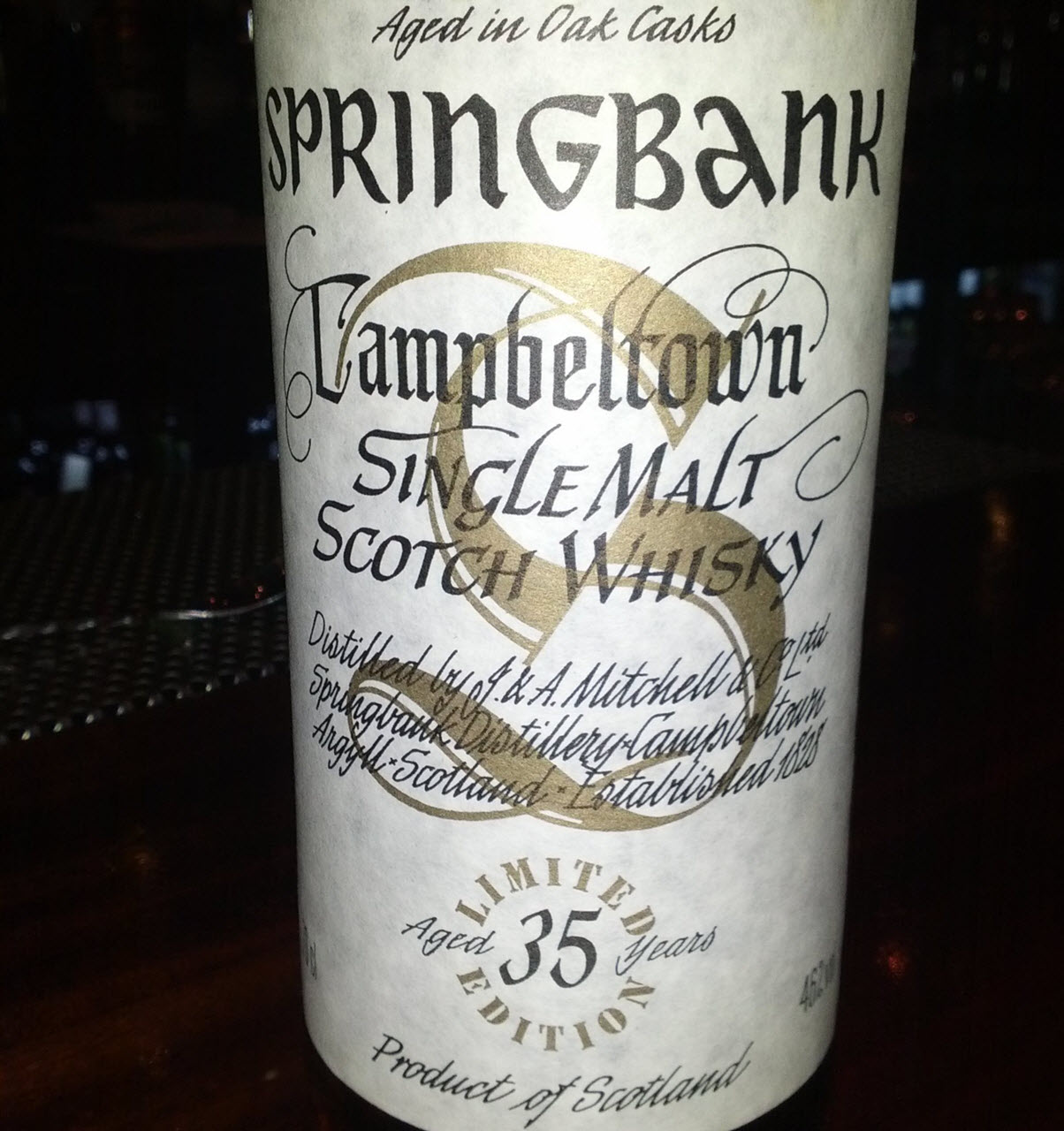 Springbank 35 YO Millennium Bottling Limited Edition