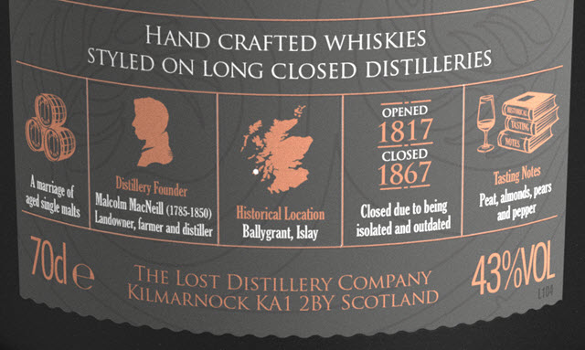 Lossit Classic Selection - The Lost Distillery - label details