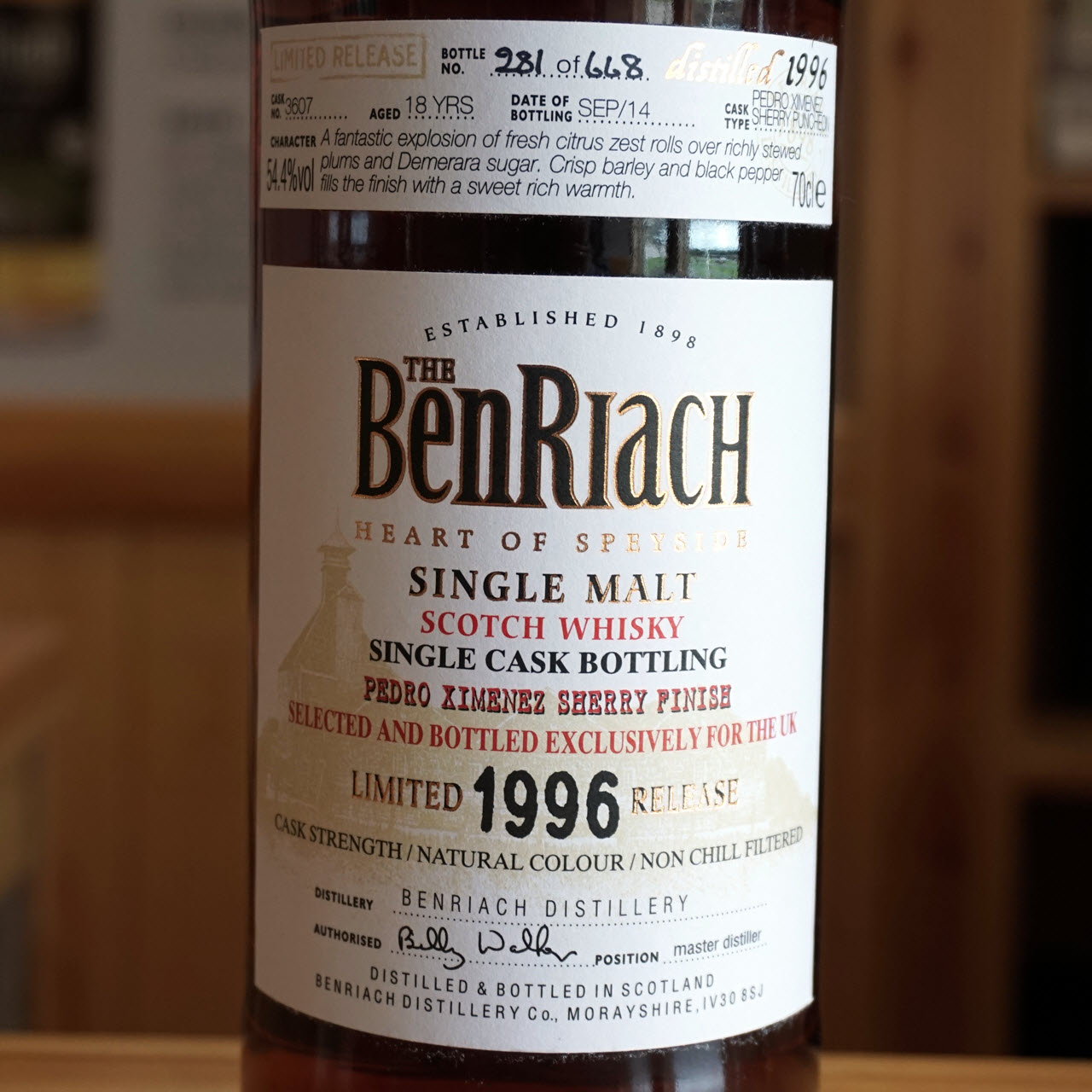 BenRiach 1996 18 YO PX Finish Cask #3607 UK Exclusive