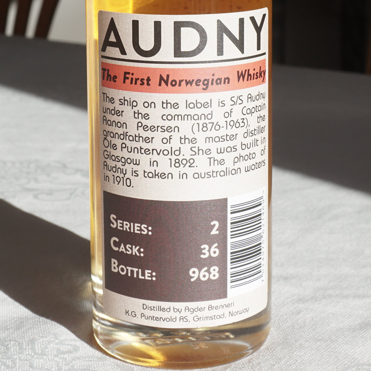 Audny Series 2 Single Cask - back label