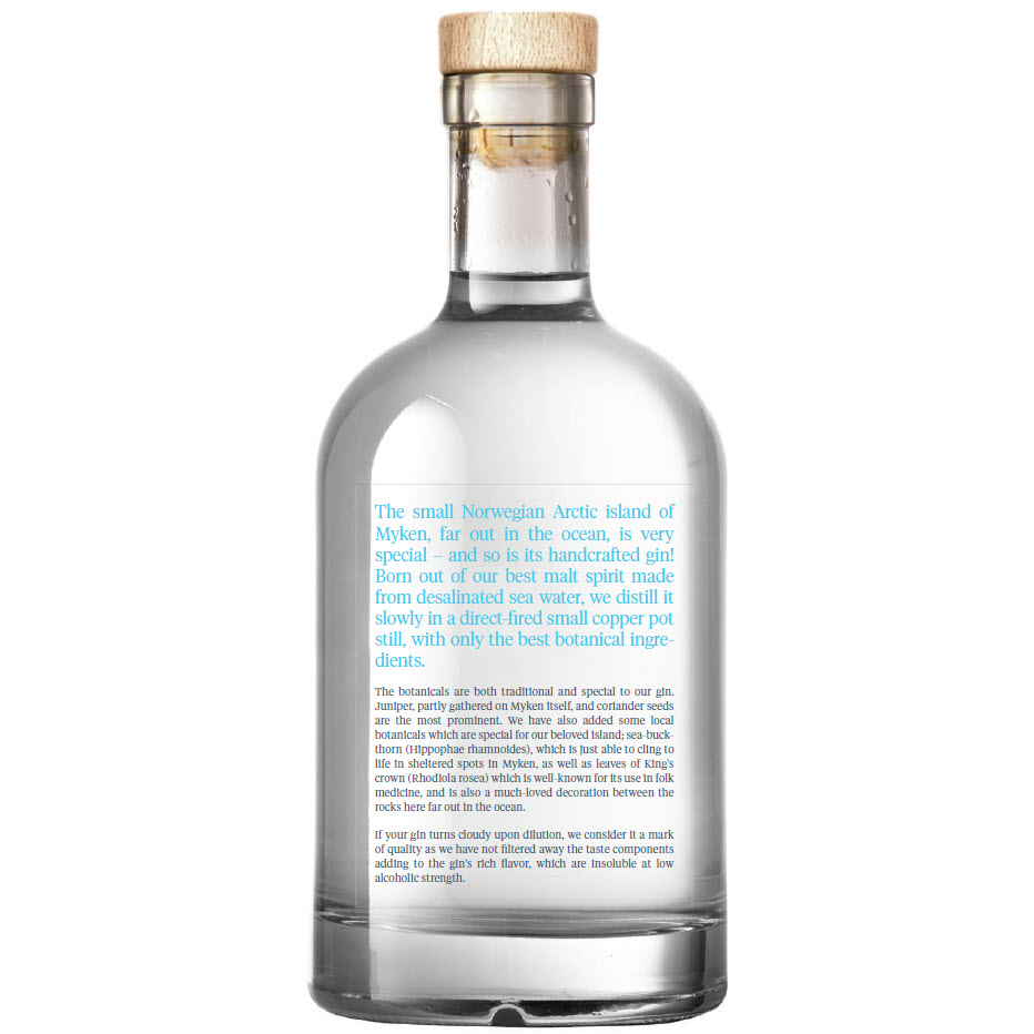 Myken Arctic Dry Gin - back label