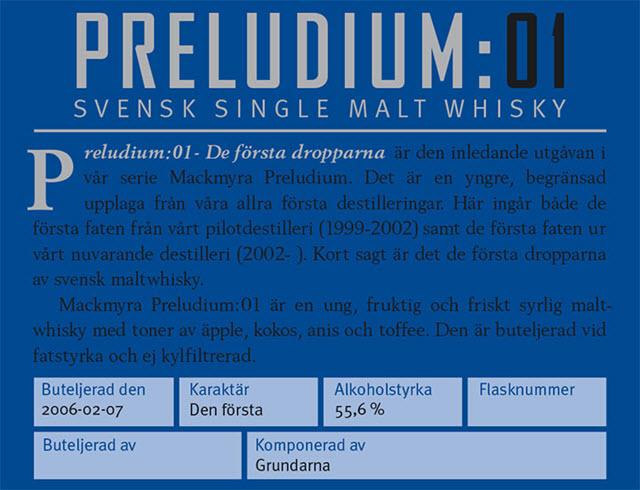 Nordic Whisky #76 - Mackmyra Preludium:01 - details