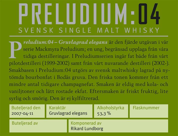 Mackmyra Preludium:04 - Gruvlagrad Elegans - back label