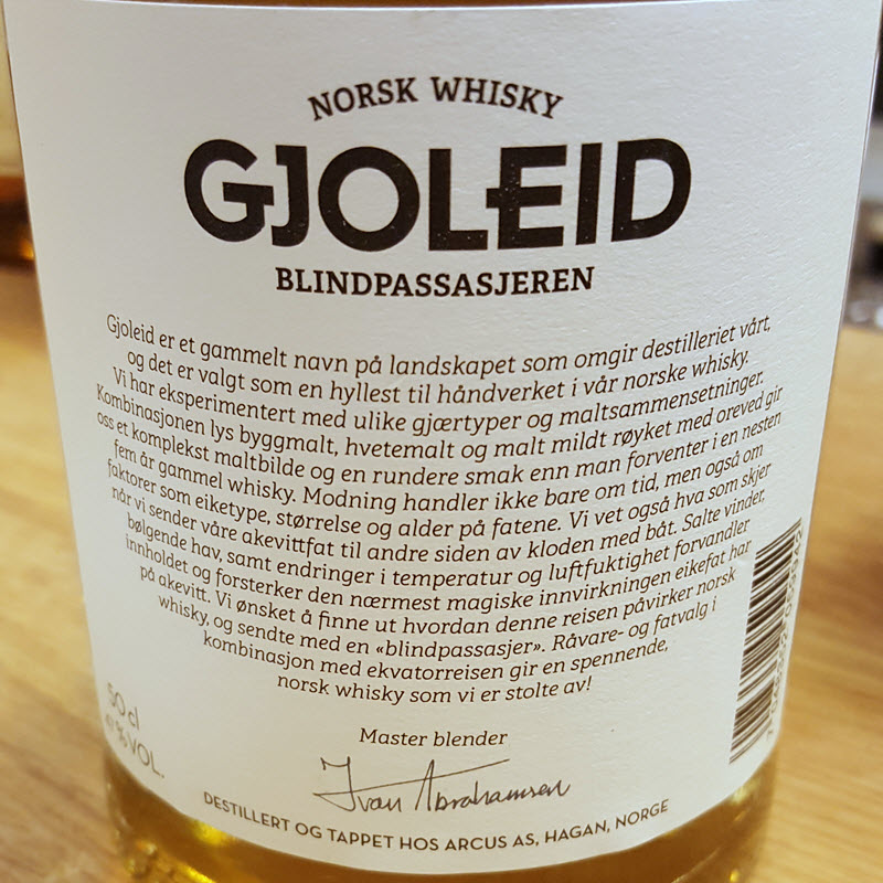 Gjoleid Blindpassasjeren - back label