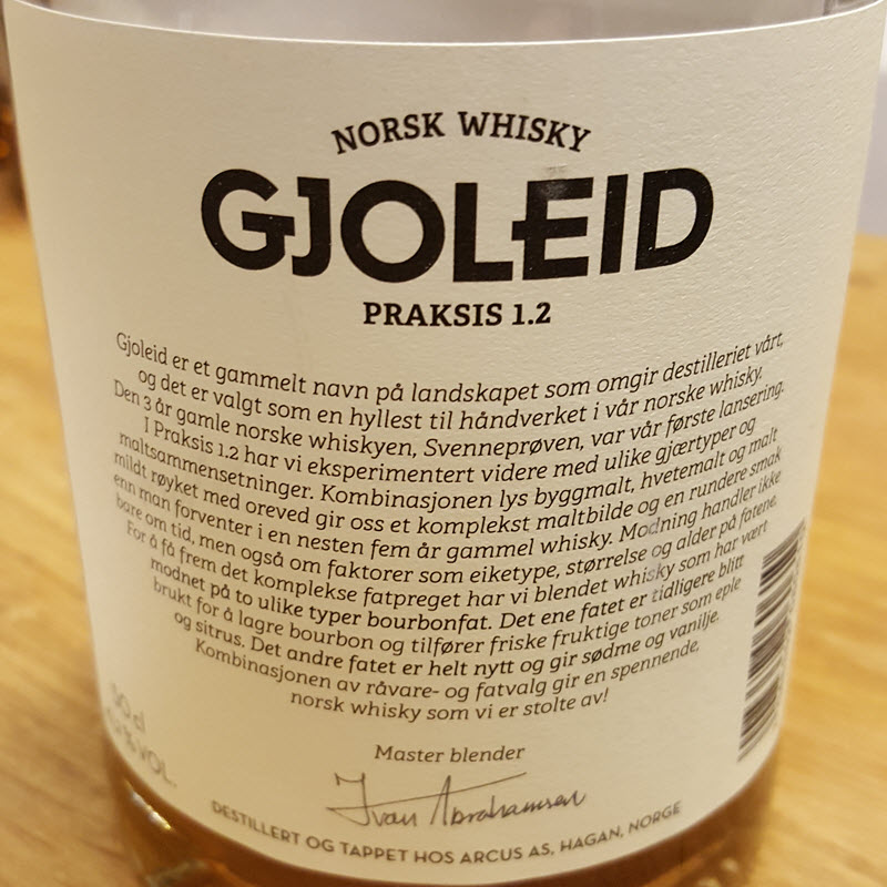 Gjoleid Praksis 1.2 - back label