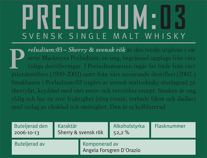 Mackmyra Preludium:03 - back label