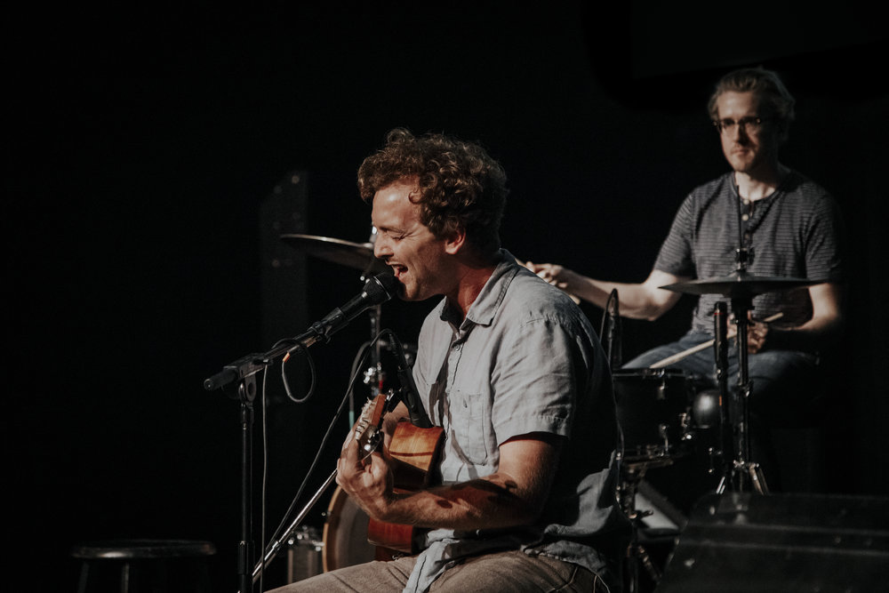 Paul Spring and Pete Johnson perform at Business Jams, 2018, Pioneer Place on Fifth, St. Cloud, MN