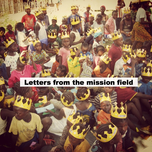Children celebrating their royalty as children of the King with donated crowns we brought.