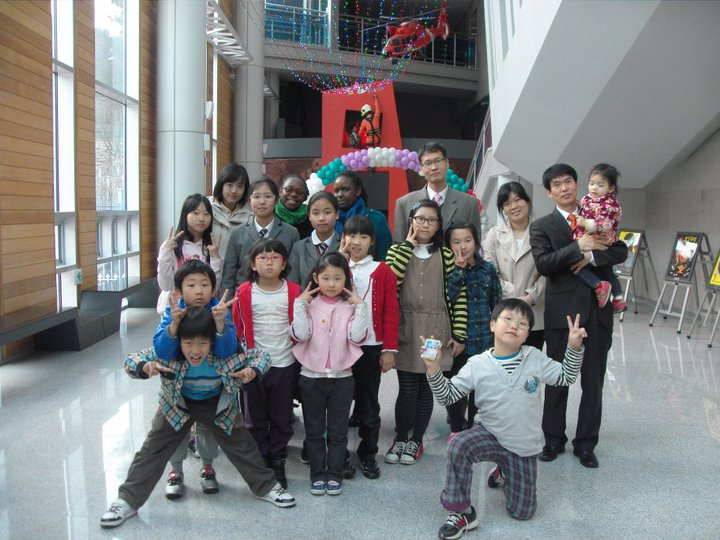 Nomsa with her students in South Korea.
