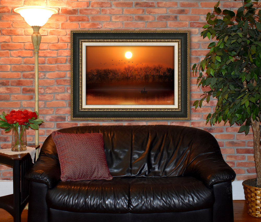 "Lemon Street Studio provides beautiful digital art paintings for you to enjoy in your home or business. Only the best materials and processes are used to provide years of enjoyment.  Shown above: Golden Hour, 33""x22"" Archival Inks on Canvas, Framed. (Frame not included)"