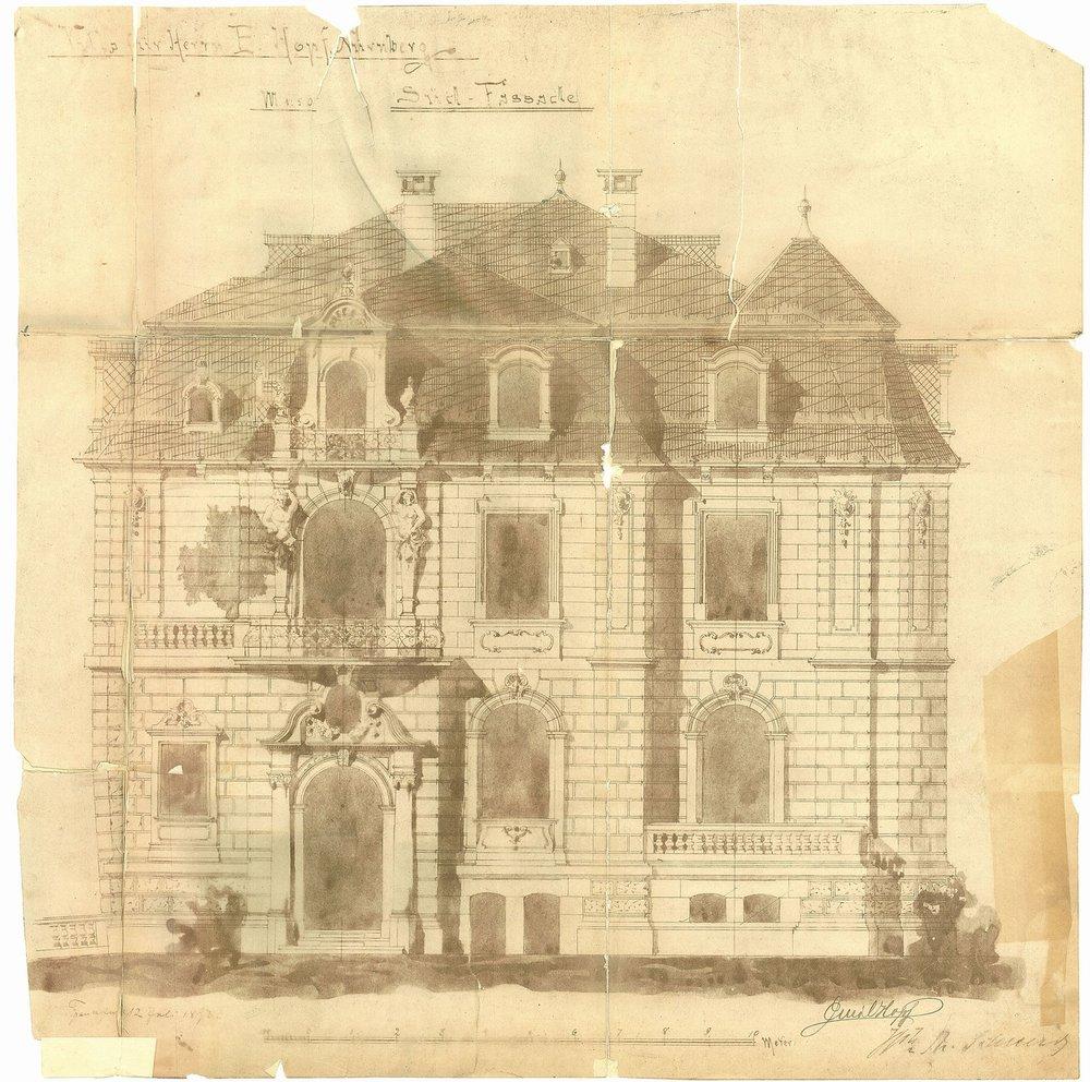 Die Kunstvilla wurde von dem Frankfurter Villenarchitekten Heinrich Theodor Schmidt (1843 – 1904) entworfen. Foto: Bauregistratur der Stadt Nürnberg