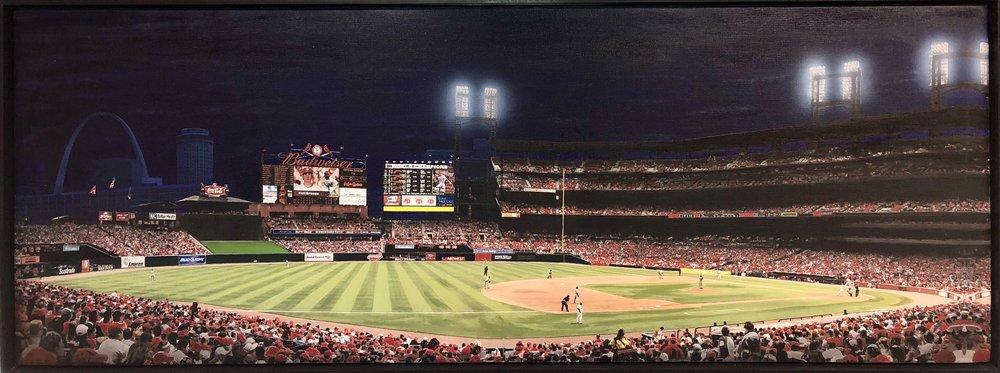 "John Salozzo  Busch Stadium Night Game  23.25"" x 61"" acrylic on canvas"