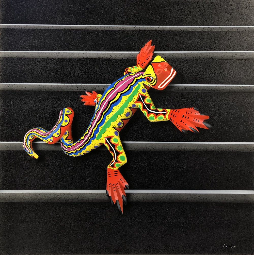 """John Salozzo  Oaxacan Lizard 2  30"""" x 30"""" acrylic on panel"""