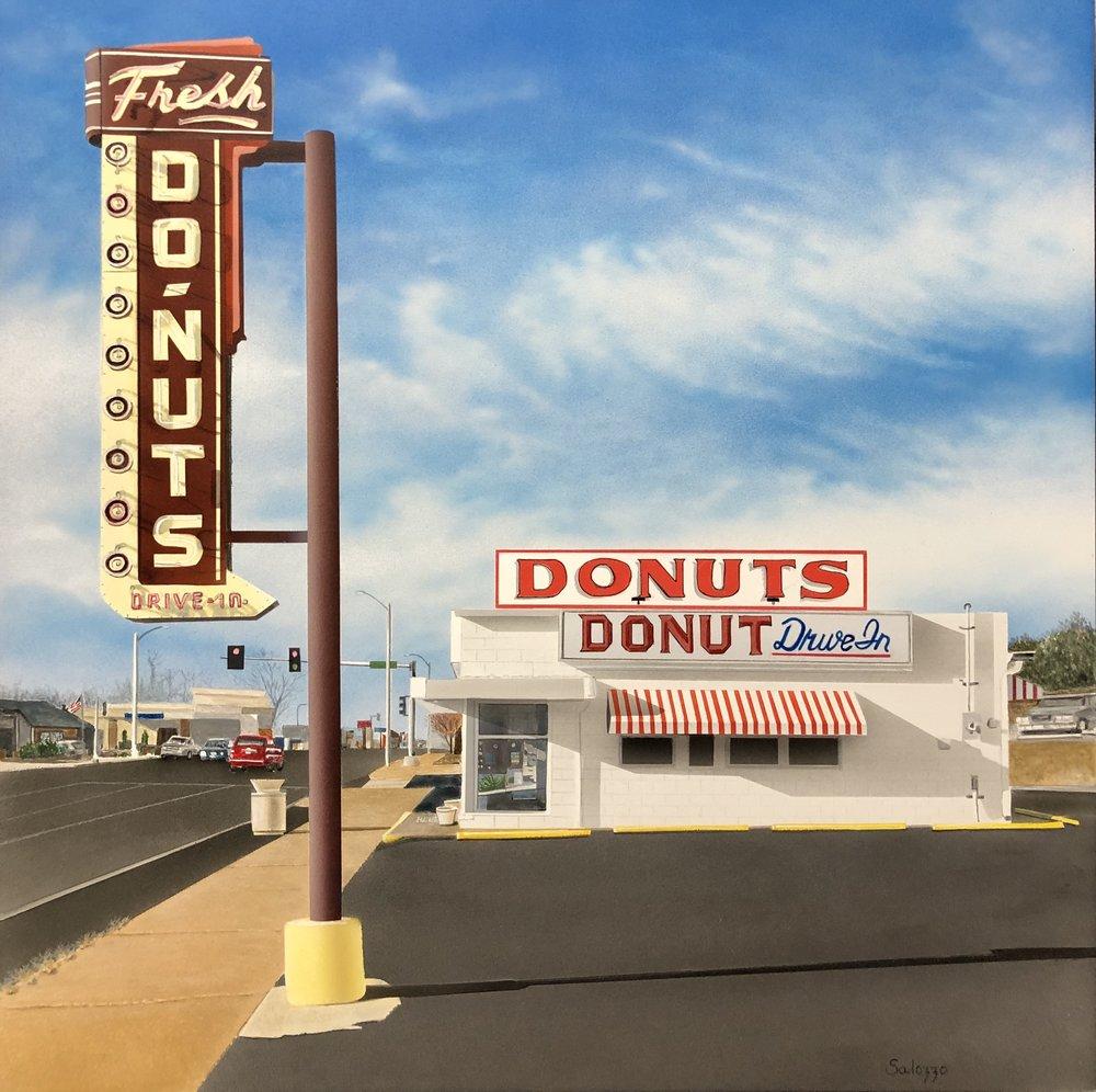 "John Salozzo  The Donut Drive-In  16"" x 16"" acrylic on panel"