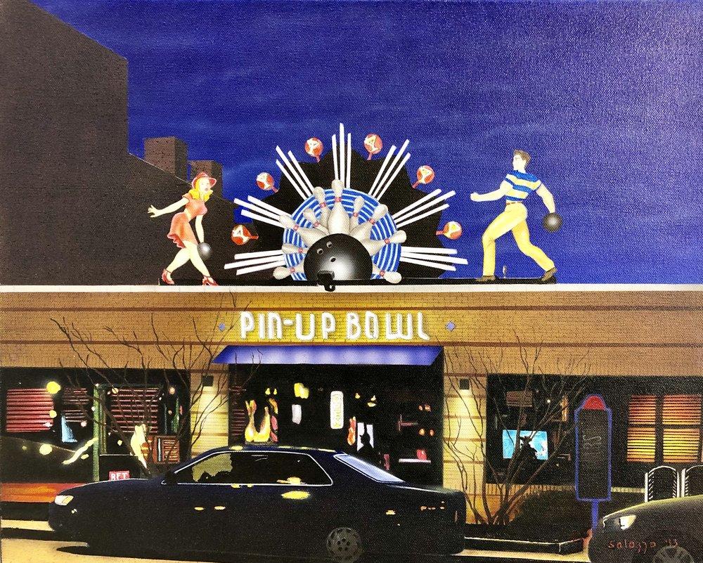 "John Salozzo  Pin-Up Bowl  16"" x 20'"" acrylic on canvas"