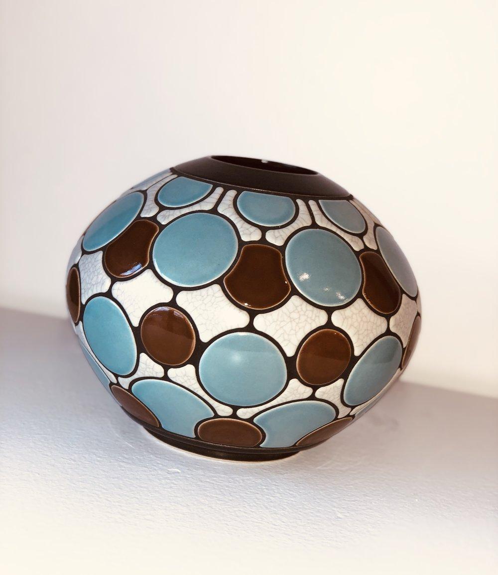 Blue, Brown, White Round Vase